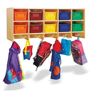 10 Section Wall Mount Coat Locker - with Colored Trays