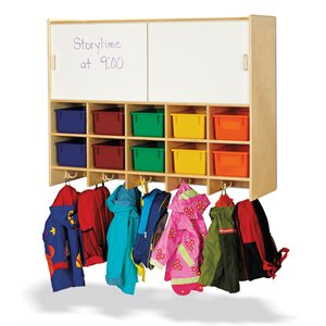10 Section Wall Mount Coat Locker with Storage – with Colored Cubbie-Trays