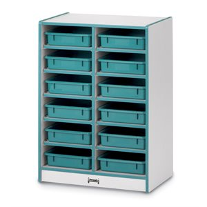 12 Paper-Tray Mobile Storage - with Paper-Trays - Teal