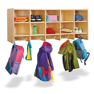 10 Section Wall Mount Coat Locker - without Trays