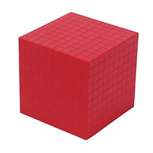 Base Ten Thousand Cube, Red, Single